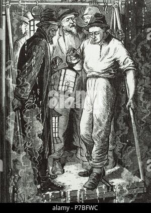 """USA. des 19. Jahrhunderts. Konsolidierte Virginia mir. Bergleute gehen bis auf die Mine. Die Aufzüge waren mit Metalldächer Bergleute vor Steinschlag zu schützen bedeckt. Die Kerzen waren die einzige Beleuchtung. Sie waren verbraucht täglich etwa fünftausend Kerzen. Gravur in """"Frank Leslies"""", 1878. - Stockfoto"""