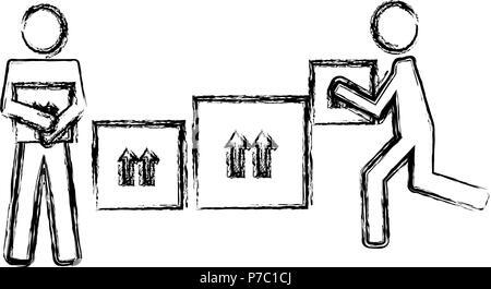 Lieferung Arbeitnehmer anheben Boxen Silhouetten Vector Illustration Design - Stockfoto