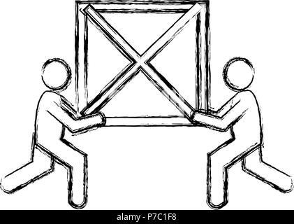 Lieferung Arbeiter mit Holzkiste Silhouetten Vector Illustration Design - Stockfoto
