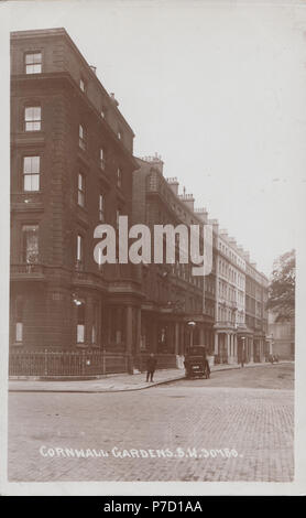 Vintage Foto von Cornwall Gardens, South Kensington, London, England, Großbritannien - Stockfoto