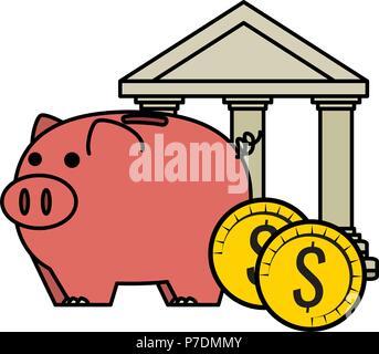 Piggy Einsparungen wirtschaft Symbole - Stockfoto