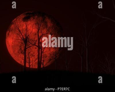 Blut mond Szene mit dunklem Holz. 3D-Darstellung - Stockfoto