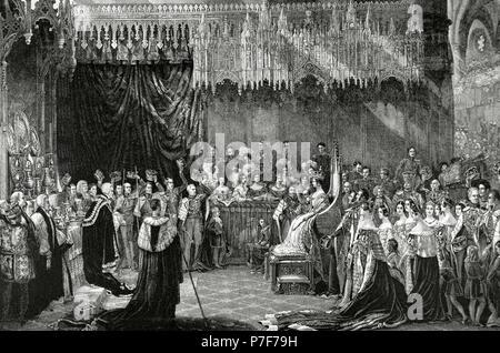 """Victoria ich (1819-1901). Königin des Vereinigten Königreichs von Großbritannien und Irland (1837-1901). Krönung von Victoria als Königin, 28. Juni 1838, in der Westminster Abbey. Kupferstich nach einem Gemälde von G. Hayter. """"Almanaque De La Ilustracion"""", 1888. - Stockfoto"""