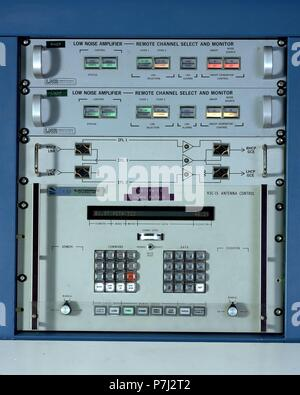 PANEL DE CONTROL DE REZEPTION DE DATOS über Satellit. Lage: ESTACION DE KOMMUNIKATION, Buitrago del Lozoya, MADRID, SPANIEN. - Stockfoto