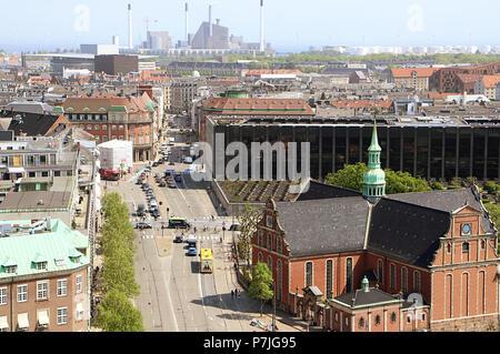 Kopenhagen, Dänemark - 17 Mai 2018 - Panorama von Kopenhagen vom Turm von Schloss Christiansborg, Haus des dänischen Parlaments: Auf dem Rig - Stockfoto