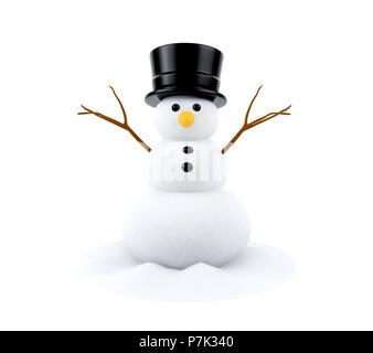 Schneemann isoliert auf weißem Hintergrund, 3D-Rendering - Stockfoto