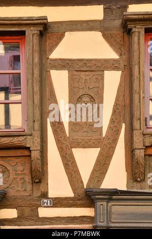 Frankreich, Haut Rhin, Alsace Wein Straße, Turckheim, Grand Rue, Single-Schwendelin Renaissance Haus, Anfang des 17. Jahrhunderts, klassifiziert, historischen Gebäude - Stockfoto
