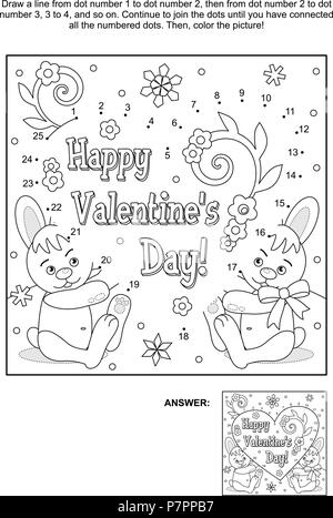 Valentinstag themed schwarz-weiss Poster mit Herz und Band Vektor ...