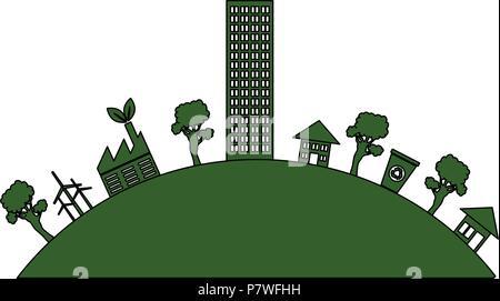 grüne Stadt Gebäude Symbol - Stockfoto