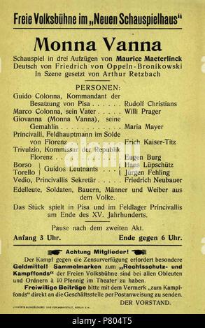 276 Monna Vanna Maeterlinck Theaterzettel Freie Volksbühne, 01. - Stockfoto
