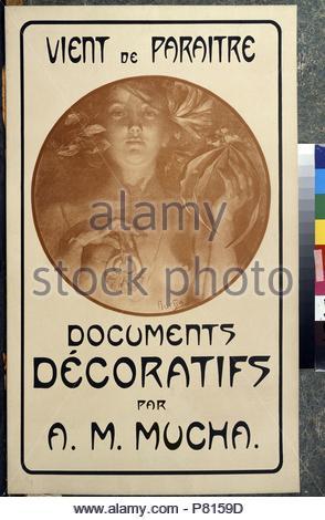Werbung für die monographie Dekorative Dokumente von A.Mucha. Museum: Staat A Puschkin-Museum für bildende Künste, Moskau. - Stockfoto