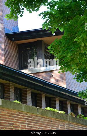 Detail der Außenfassade des Frank Lloyd Wright entworfen, Robie House in Chicago's Hyde Park. - Stockfoto