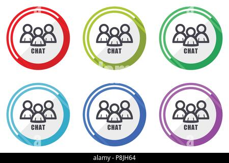 Chat Vector Icons, von bunten flachen Design internet Symbole auf weißem Hintergrund - Stockfoto