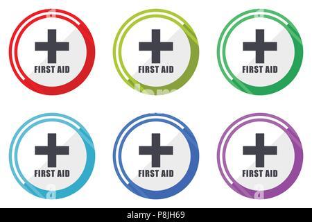 Erste-Hilfe-Vector Icons, von bunten flachen Design internet Symbole auf weißem Hintergrund - Stockfoto