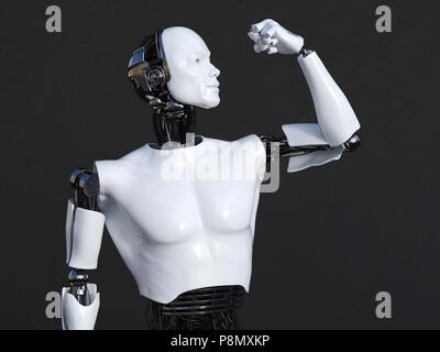 3D-Rendering der männlichen Roboter seinen Bizeps Muskeln biegen. Der dunkle Hintergrund. - Stockfoto