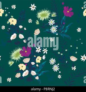Die nahtlose Vektor florales Muster mit wild wachsenden Blumen - Stockfoto