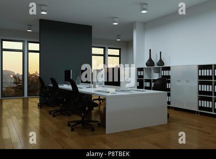 Modernes, graues Office Interior Design 3D-Rendering
