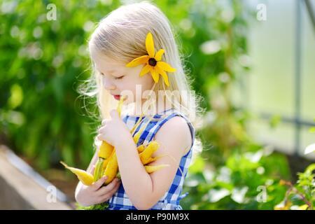 Süße kleine Mädchen, dass eine Reihe von frischen organischen gelbe Karotten - Stockfoto