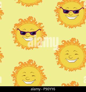 Nahtlose Hintergrund, lächelnd Cartoon sun - Stockfoto