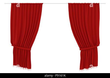 Rote Vorhänge auf weißem Hintergrund. Beschneidungspfad gehören. 3D-Rendering - Stockfoto