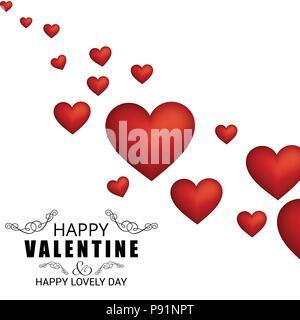 Happy Valentine's Day Karte mit Muster oh Herzen. Für web design und Application Interface, auch nützlich für Infografiken. Vector Illustration. - Stockfoto
