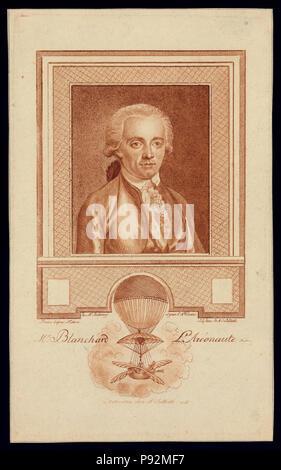 Mit Kopf und Schultern im Porträt der Französischen ballonfahrer Jean-Pierre Blanchard. Enthält Bild von Blanchard's Ballon demonstriert seine Experimente mit Ballon Navigation - Stockfoto