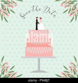 Braut und Bräutigam Puppen in Hochzeitstorte Datum speichern Karte Vector Illustration - Stockfoto