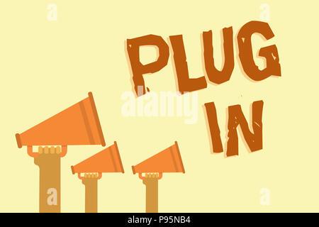 Text Zeichen angezeigt. Konzeptionelle Foto, Gerät in Strom schalten, um so mit Hände halten Megaphone Lautsprecher im - Stockfoto