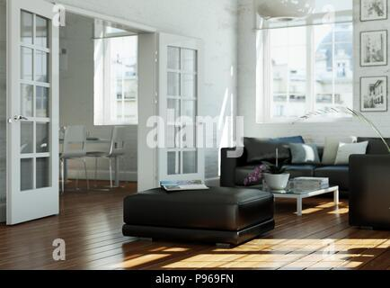 Moderne Gebaeude Interior Design Wohnzimmer In Weiß Stil   Stockfoto