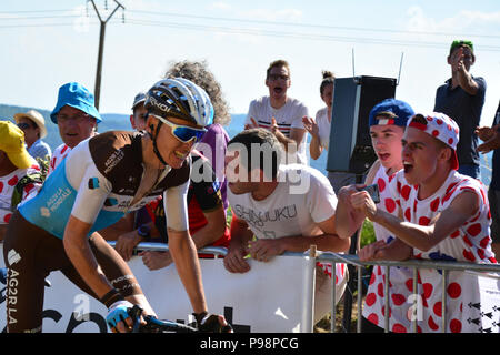 Tour de France 2018. Stufe 6. Brest, Mur-de-Bretagne. In den letzten Kilometer der 181 km Strecke, die eine durchschnittliche Steigung von 6,9 %.
