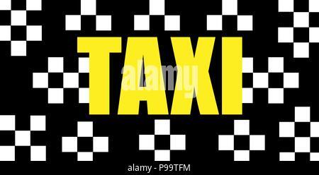 Gelbes taxi Inschrift auf einem schwarzen Hintergrund taxi minimalistisch-Logo - Stockfoto