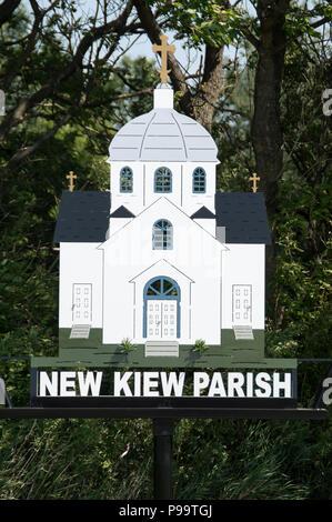 100 Jahre alte Ukrainische Katholische Pfarrei, 1918 Kirche in neuen Kiew, Alberta, in der Nähe von zwei Hügeln, Alberta und Vegreville, Alberta im Land von Kanada - Stockfoto