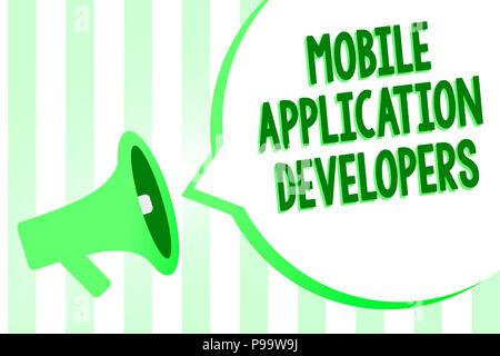 Konzeptionelle Handschrift zeigt Entwickler mobiler Anwendungen. Business Foto Text erstellen Software für Geräte wie Android Megaphon Lautsprecher gree - Stockfoto