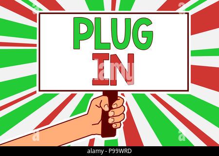 Text Zeichen angezeigt. Konzeptionelle Foto, Gerät in Strom schalten Sie den Mann hand Plakat wichtige protes zu drehen - Stockfoto