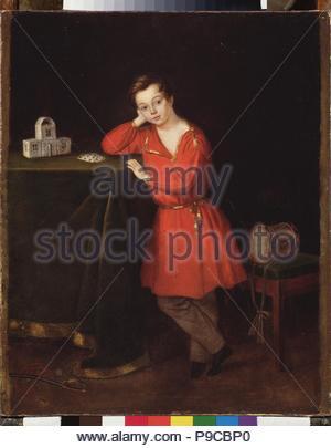 Ein Junge in ein rotes Hemd mit Haus der Karten auf dem Tisch. Museum: Staatliches russisches Museum, St. Petersburg. - Stockfoto