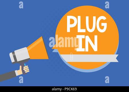 Text Zeichen angezeigt. Konzeptionelle Foto, Gerät in Strom schalten Sie den Mann mit Megaphon Lautsprecher orange - Stockfoto