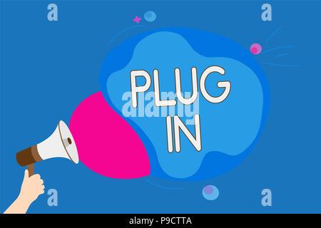 Text Zeichen angezeigt. Konzeptionelle Foto, Gerät in Strom schalten Sie den Mann mit Megaphon Lautsprecher schreien zu drehen - Stockfoto