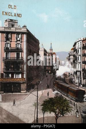 Ansicht der Balmes Straße, Barcelona, am Ende des 19. Jahrhunderts, Farbe Postkarte. - Stockfoto