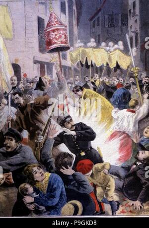 Versuch an der Ausfahrt einer Prozession in die Kirche Santa Maria del Mar in Barcelona 1896, Il ... - Stockfoto