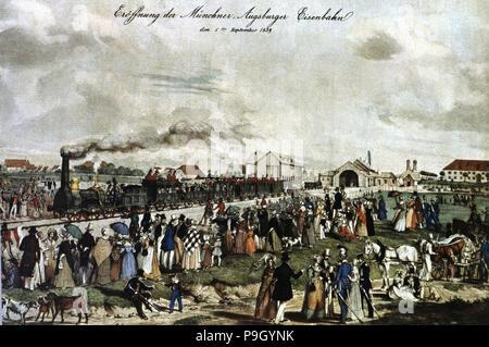 Einweihung der ersten Bahnstrecke München - Augsburg am 1. September 1839. - Stockfoto