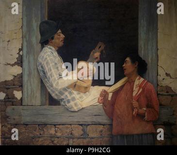 """Gitarrist"", Öl auf Leinwand 1899 von José Ferraz de Almeida. - Stockfoto"