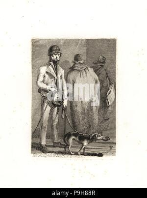 George Dyball, einem blinden Bettler, der in Uniform für Segler gekleidet, und sein Hund Nelson mit der Bettelschale. Ein weiterer Blinder bettelnd Paar hinter ihm. Kupferstich und Radierung von John Thomas Smith aus seinem Vagabondiana, Anekdoten von bettelmönch Wanderers durch die Straßen von London, 1817 eingraviert. - Stockfoto