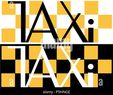Schwarz-weißes Taxi Inschrift auf einem schwarzen und weißen Hintergrund taxi minimalistisch-Logo - Stockfoto