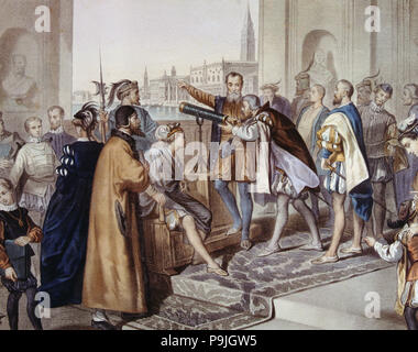 Galileo Galilei (1564-1642), italienischer Astronom und Physiker, der seine Erfindung der Tele... - Stockfoto