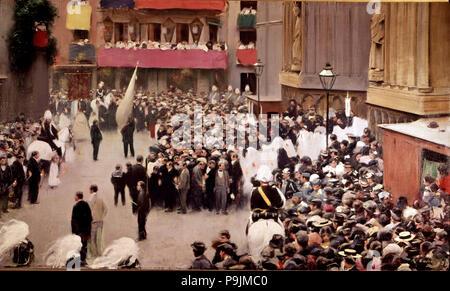 """Prozession in Santa Maria del Mar"", 1907, Öl auf Leinwand von Ramon Casas. - Stockfoto"