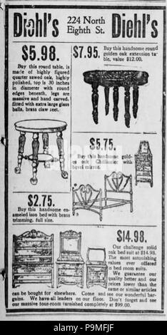 1906 Diehl Möbel Zeitung Anzeige Allentown Pa Stockfoto Bild