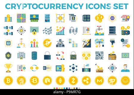 Und cryptocurrency Blockchain Flachbild Symbole. - Stockfoto
