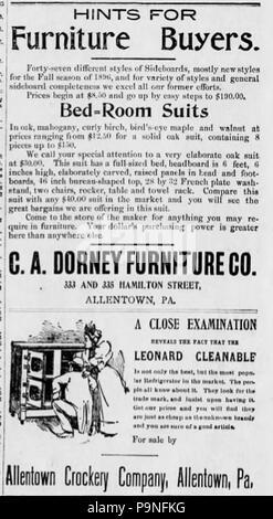 23 1896 C Eine Dorney Möbel Zeitung Anzeige Allentown Pa Stockfoto
