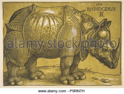 Das Nashorn, nach 1620, Chiaroscuro Holzschnitt mit Ton blockieren in Gedruckt in hell oliv, Blatt: 8 7/16 x11 13/16-in. (21,4 x 30 cm), Drucke, Albrecht Dürer (Deutsch, Nürnberg 1471 - 1528 Nürnberg). - Stockfoto