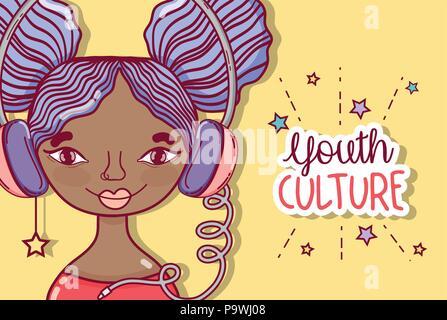 Jugendkultur tausendjährigen Frau Cartoon - Stockfoto